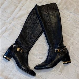 TORY BURCH BLACK LEATHER RIDING BOOTS !